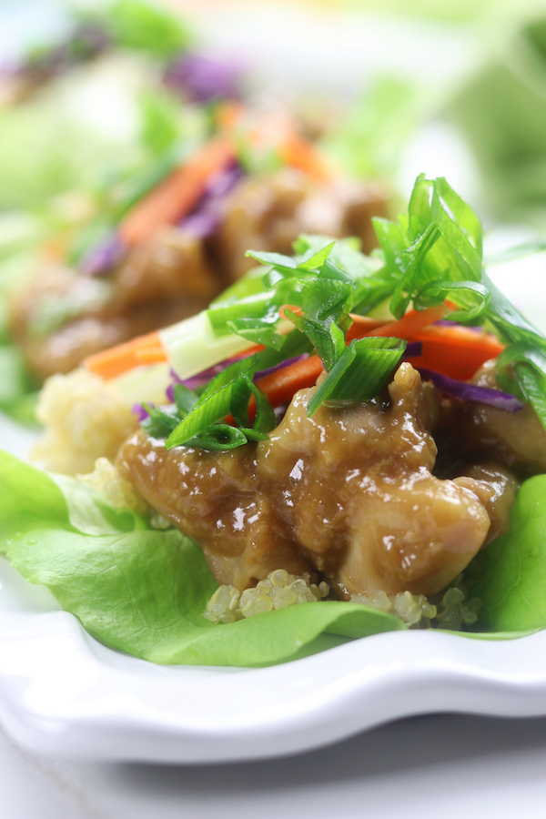 Asian Lettuce Wraps with a Wasabi Ginger Sauce