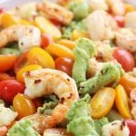 Avocado Pesto Pasta with Garlic Shrimp