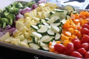 Cut Veggies for Creamy Pesto Vegetable Pasta