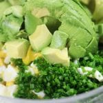 Ingredients premixing for Avocado egg salad
