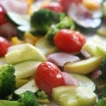 Roasted veggies for Creamy Pesto Vegetable Pasta