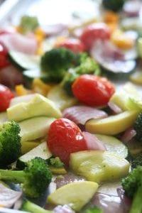 Roasted veggies for Creamy Pesto Vegetable Pasta