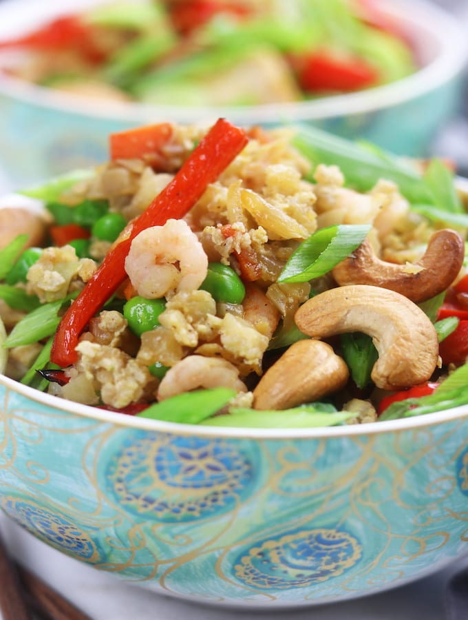 Cauliflower Chicken and Shrimp Fried Rice