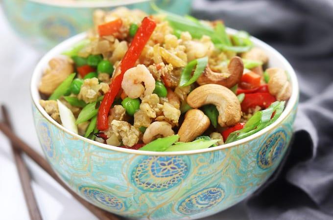 Cauliflower Shrimp Fried Rice with Chicken