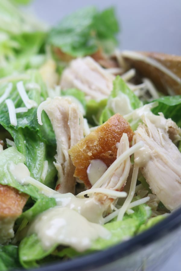 Chicken Caesar Salad with Yogurt Caesar Dressing