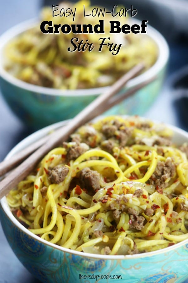With just a few ingredients, this Ground Beef Stir Fry is perfect for a quick and healthy weeknight dinner. My husband loved it so much he didn't even notice we were eating low carb.  #LowCarbRecipes #StirFryRecipes https://www.thefedupfoodie.com