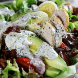 Up close photo of Avocado Chicken Salad with Homemade Ranch Dressing.
