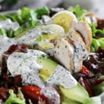 Avocado Chicken Salad Recipe dressed with Ranch Dressing.