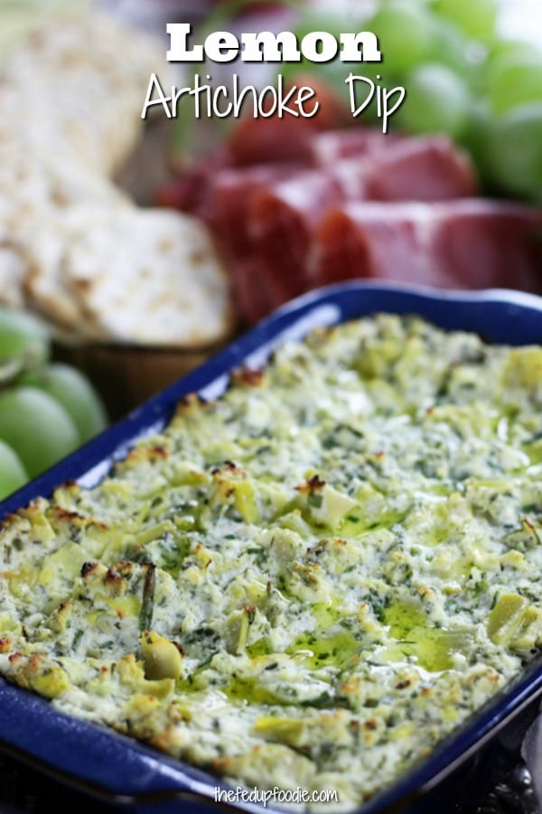 Cheesy, savory and full of the bright citrusy flavor of lemon, this Lemon Artichoke Dip is by far one of my favorite appetizers. This recipe is versatile enough to work either as a holiday appetizer or for a summer get together. #ArtichokeDip #DipRecipe https://www.thefedupfoodie.com