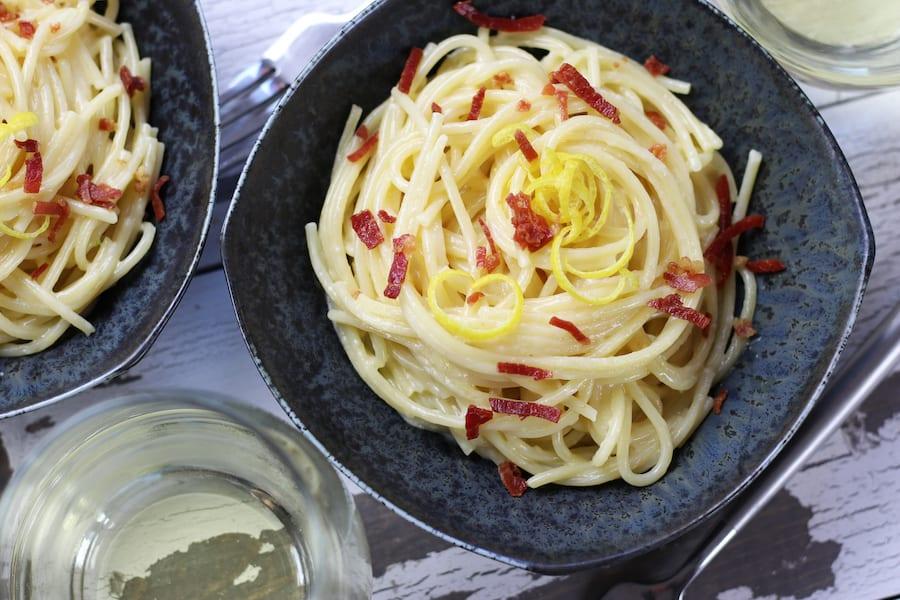Table setting of Lemon Garlic Butter Pasta.