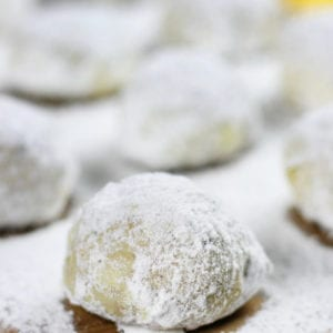 Orange Cranberry Walnut Balls sprinkled and rolled in powdered sugar.