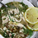 Overhead photo of Greek Lemon Chicken Orzo Soup.