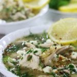 Lemon Chicken Soup garnished with dill, feta and chives.