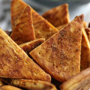 Baked Pita Chips sitting in a bowl.