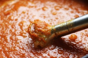 Blending Tomato Basil Soup with an Immersion Blender