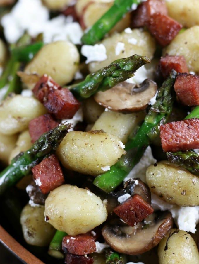 Up close photo of Gnocchi Asparagus and Mushroom Skillet.