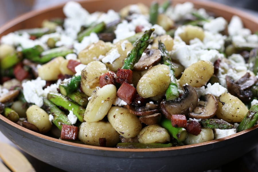 Horizontal photo of Gnocchi and Vegetable Skillet.