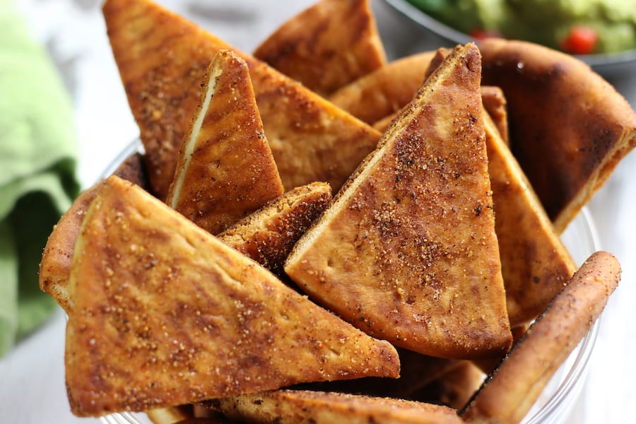 Up close photo of Healthy Homemade Pita Chips.