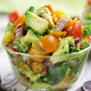 Chunky Guacamole Salsa with blue tortilla chips.