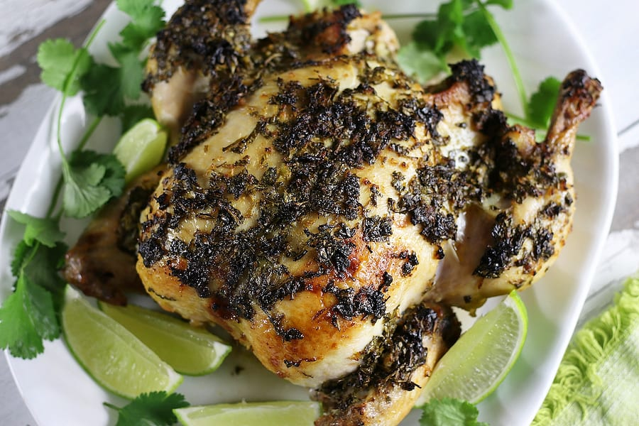 Roasted chicken marinated in Cilantro Lime Mexican Chicken Marinade.