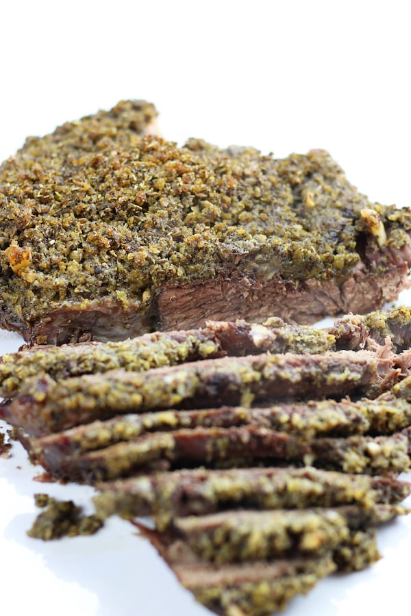 Cooked chuck roast seasoned with Dry Rub for Beef.