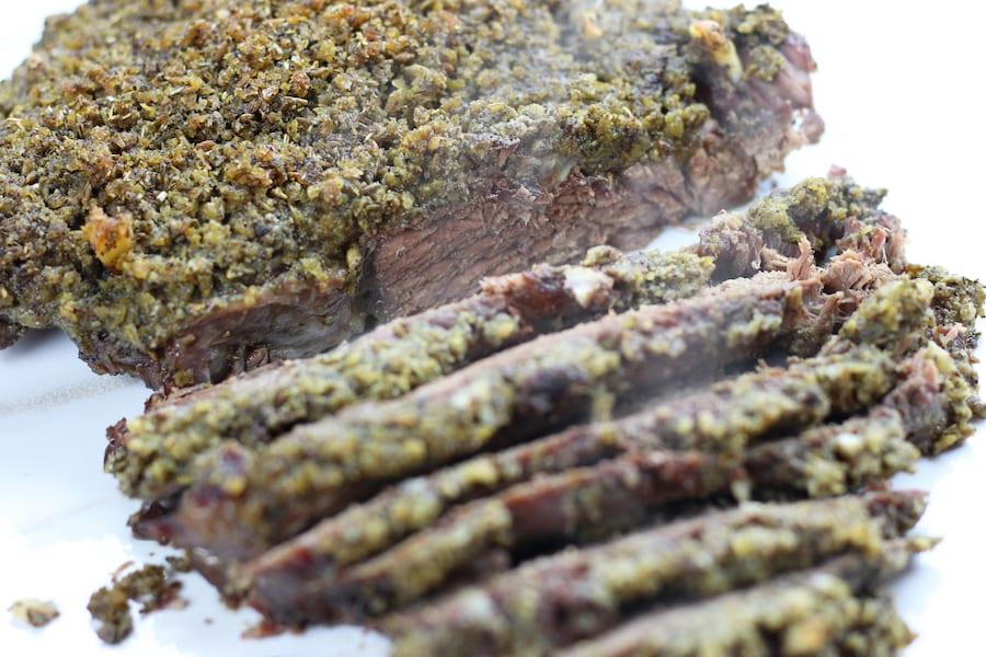 Sliced slow cooked chuck roast with Roast Beef Seasoning.