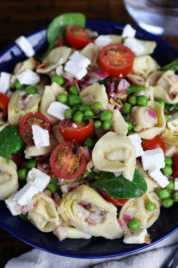Overhead photo of a bowl of Italian Tortellini Salad.