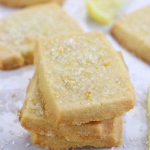 Stack of Lemon Shortbread Cookies