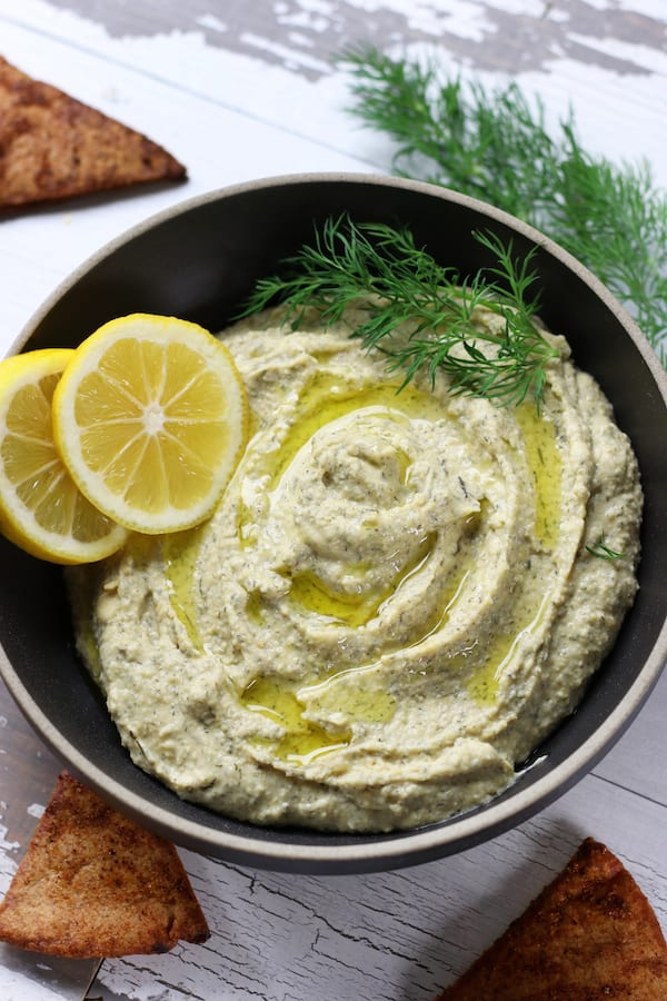 Mediterranean Lemon Hummus drizzled with extra virgin olive oil.
