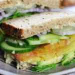 Up close photo of cut Vegan Sandwich.