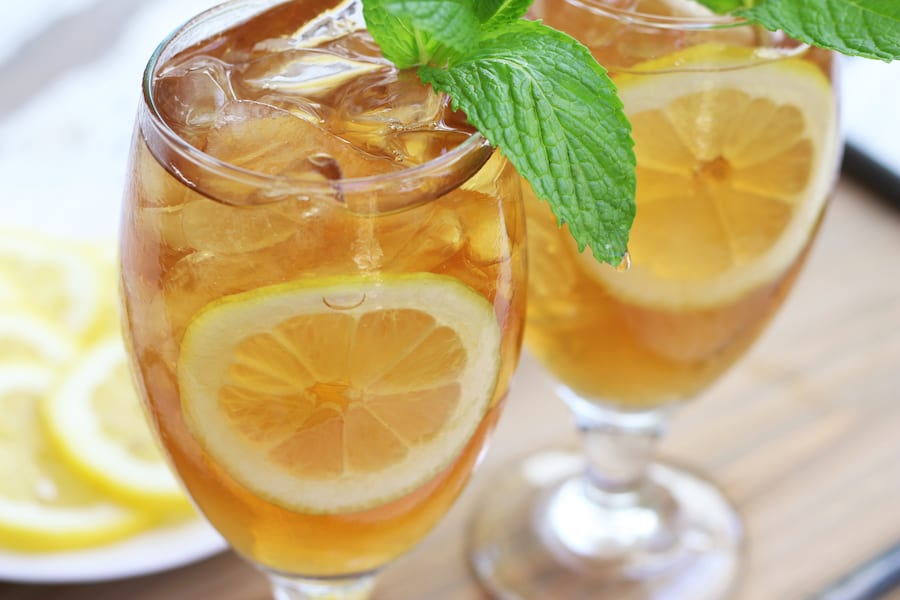 Two full glasses of Homemade Iced Tea.
