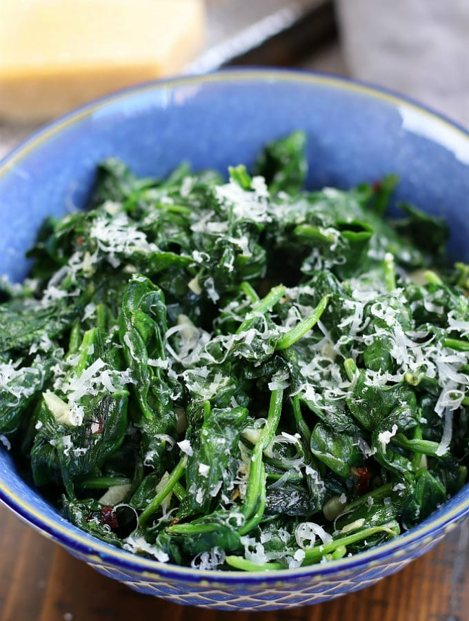 Italian Sautéed Baby Spinach with finely grated parmesan.