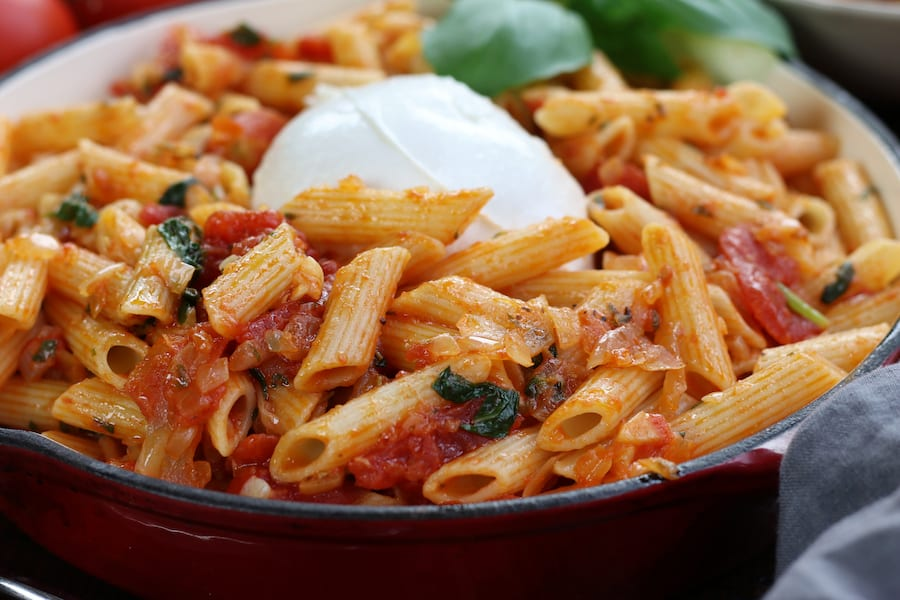 Up close photo of Pasta Pomodoro.