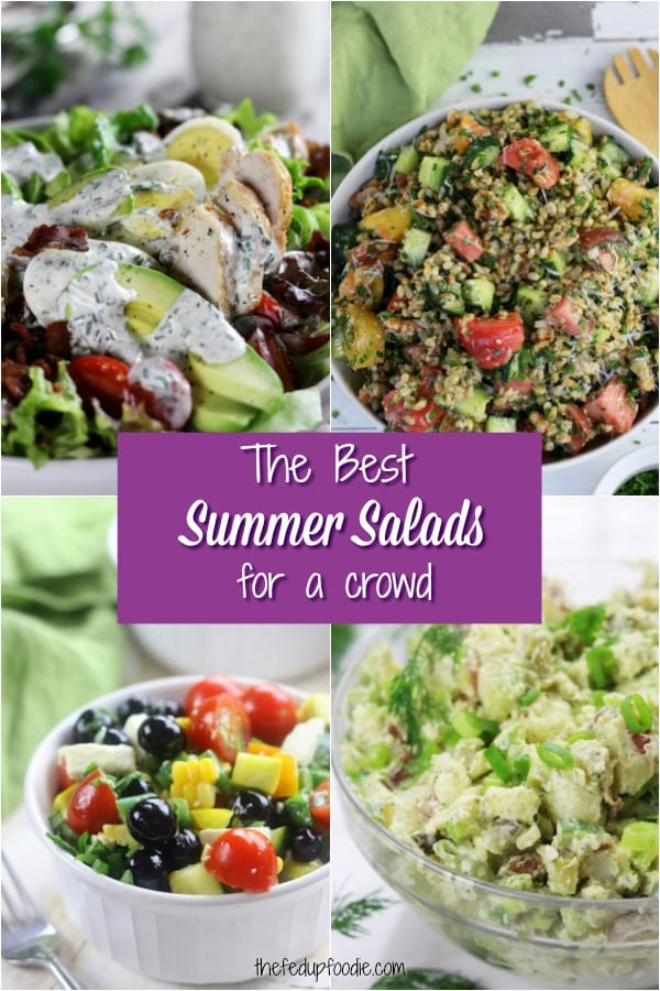 A four picture collage of Summer Salads Recipes for BBQ's, cookouts and potlucks.