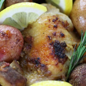 Up close photo of Chicken Potato Bake with mushrooms, lemon and rosemary.