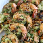 Marinated Grilled Shrimp on wooden skewers.