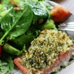Single piece of Panko Crusted Salmon with Dill and Lemon.