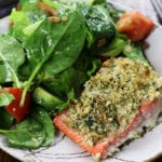 Panko Salmon on a grey striped plate with a salad.