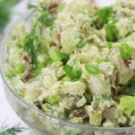 Skinny Red Potato Salad in a big clear glass bowl.