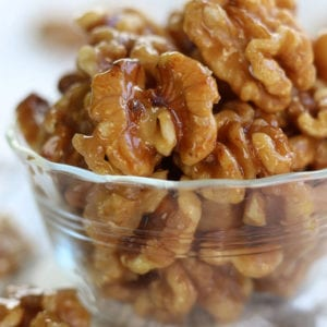 A serving of Honey Roasted Walnuts.