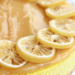 Whole Lemon Cheesecake with candied lemon slices.