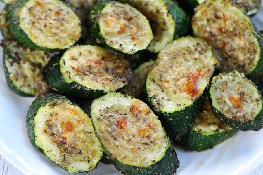 Overhead shot of Oven Roasted Zucchini slices.