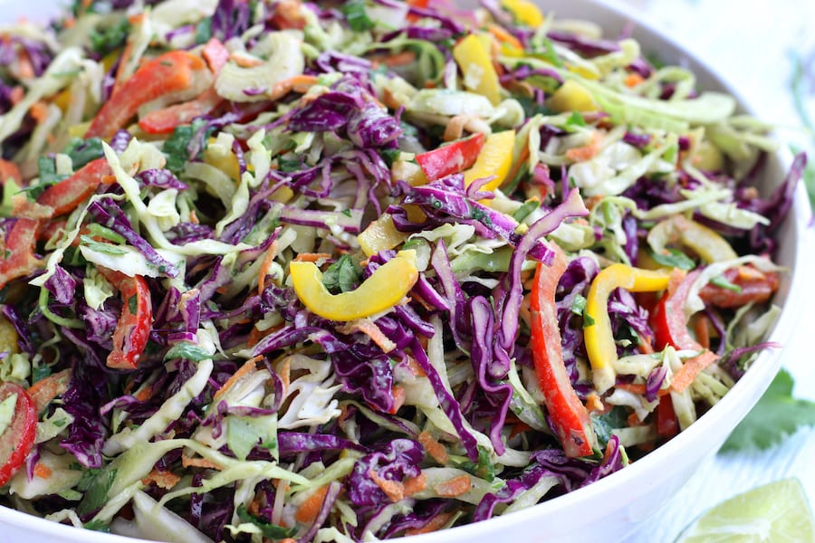 Shredded Cabbage Salad in a large white bowl.