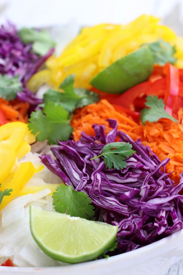 Up close shot of ingredients for Tossed Cabbage Salad.