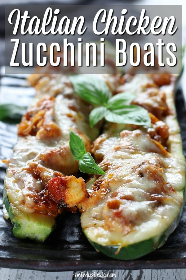 An easy and delicious low carb feast, Italian Chicken Zucchini Boats is made with shredded chicken, homemade Pomodoro sauce and mozzarella cheese. This is one of our secret tools to surviving the low carb diet. #ZucchiniRecipes #ZucchiniBoats #ZucchiniBoatsHealthy #StuffedZucchini #LowCarb #EasyDinner https://www.thefedupfoodie.com