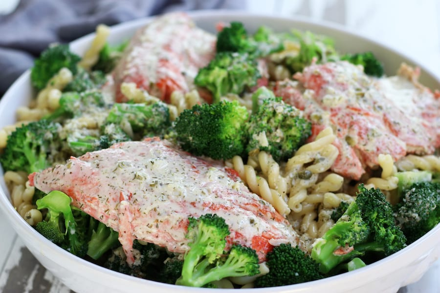 Salmon Pasta with Capers, broccoli and dill.