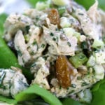 Tarragon Chicken Salad with golden raisins on a butter lettuce leaf.