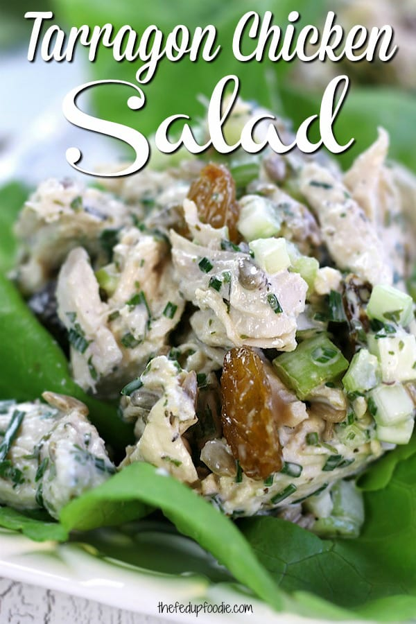 This homemade Tarragon Chicken Salad recipe has shredded chicken, a savory dressing, golden raisins and the fresh licorice taste of tarragon. With great textures and easy preparation, this salad is perfect for packed work lunches or simple dinners.