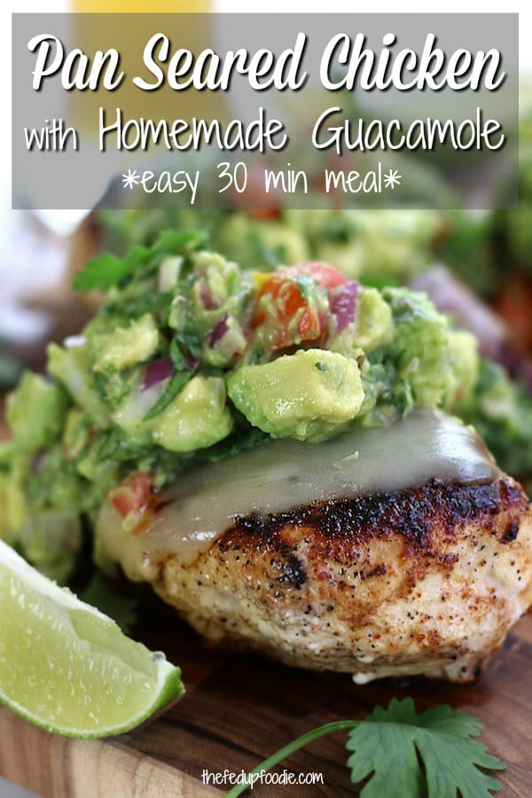 Easy Seared Chicken Guacamole has tender juicy dry rubbed chicken topped with melted Jack cheese and life-changing homemade guacamole. This is one of the best dinners for healthy and fun eating. #GuacamoleChickenMelt #GuacamoleChicken #EasyChickenDinner #LowCarbDinner #ChickenGuacamole #SearedChicken https://www.thefedupfoodie.com