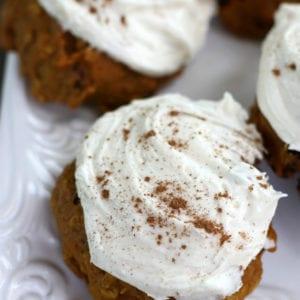 Pumpkin Oatmeal Cookies on a white platter.